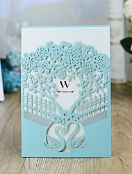 "cheap -Wrap & Pocket Wedding Invitations 10pcs - Invitation Cards Fairytale Theme / Floral Style Pearl Paper 5""×7 ¼"" (12.7*18.4cm)"