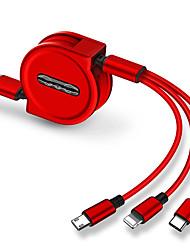 abordables -Micro USB / Eclairage / Type-C Câble 1.0m (3ft) Rétractable / 1 à 3 / Charge rapide TPE / ABS + PC Adaptateur de câble USB Pour iPad / Samsung / Huawei