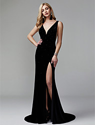 cheap -Mermaid / Trumpet Plunging Neck Sweep / Brush Train Velvet Furcal / Celebrity Style / Minimalist Formal Evening Dress with Sequin / Split Front / Pleats 2020