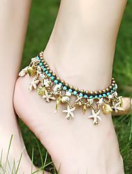 abordables -Femme Turquoise Bracelet de cheville Créatif Bohème Bracelet de cheville Bijoux Blanche / Rouge foncé / Rouge Pour Soirée