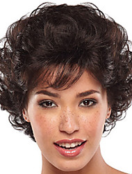 cheap -Synthetic Wig Bangs Curly Free Part Wig Short Brown / Burgundy Synthetic Hair 12 inch Women's Women Synthetic For Black Women Dark Brown