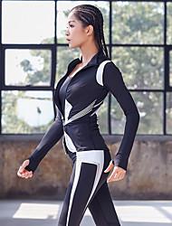 abordables -Femme Fermeture éclair complète Mosaïque Survêtement 3pcs Course / Running Fitness Entraînement de gym Chaud Respirable Séchage rapide Tenue de sport Ensembles de Sport Manches Longues Tenues de Sport