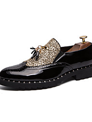 cheap -Men's Formal Shoes PU Spring & Summer / Fall & Winter Casual / British Loafers & Slip-Ons Color Block Black / Black / Gold / Party & Evening