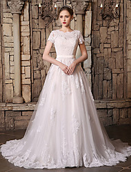 cheap -A-Line Jewel Neck Chapel Train Lace / Tulle Short Sleeve Wedding Dresses with Lace / Sashes / Ribbons / Appliques 2020