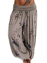 cheap -Women's Basic Plus Size Loose Bloomers Pants - Print Ruffle / Fashion Winter Fuchsia Army Green Khaki XXXL XXXXL XXXXXL