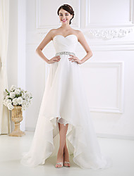 cheap -A-Line Sweetheart Neckline Asymmetrical Tulle Strapless Made-To-Measure Wedding Dresses with Beading / Buttons / Side-Draped 2020