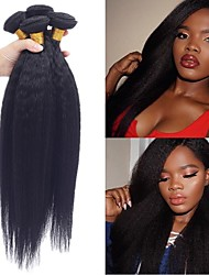 Недорогие -4 Связки Бразильские волосы Естественные прямые 100% Remy Hair Weave Bundles 200 g Человека ткет Волосы Пучок волос Накладки из натуральных волос 8-28inch Естественный цвет Ткет человеческих волос