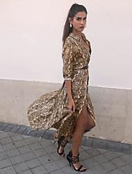cheap -Women's Elegant Shirt Dress - Animal Split Gray Yellow M L XL