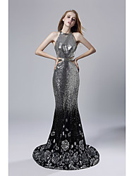 cheap -Mermaid / Trumpet Halter Neck Sweep / Brush Train Sequined Sparkle & Shine Formal Evening Dress 2020 with Sequin