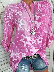 cheap -Women's Daily Wear T-shirt - Geometric Fashion / Print V Neck Blue / Spring / Summer / Fall / Winter