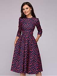 cheap -Women's A-Line Dress Knee Length Dress - 3/4 Length Sleeve Print Ruched Patchwork Print Fall Elegant Sexy 2021 Wine Red Purple / Blue White Red Blushing Pink Navy Blue S M L XL XXL 3XL