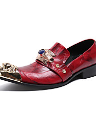 cheap -Men's Novelty Shoes Nappa Leather Spring & Summer / Fall & Winter British Loafers & Slip-Ons Burgundy / Wedding / Party & Evening / Rhinestone / Wedding / Party & Evening