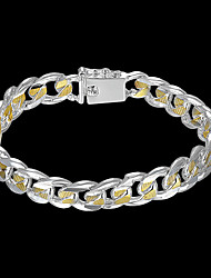 cheap -Men's Chain Bracelet Wide Bangle Cut Out Precious Stylish Brass Bracelet Jewelry Silver For Daily Work / Silver Plated