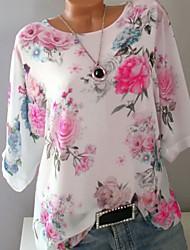cheap -Women's Plus Size Floral Print Loose T-shirt White / Blue / Purple / Yellow / Blushing Pink