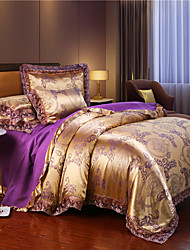 cheap -Wedding European Lace satin jacquard Sheet 4 piece bedding set