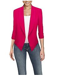 cheap -Women's Blazer, Solid Colored Notch Lapel Polyester Black / Wine / White