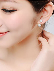 cheap -Women's Stud Earrings Hollow Out Stylish Simple Silver Plated Earrings Jewelry Silver For Daily Work 1 Pair