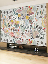 cheap -Wallpaper / Mural / Wall Cloth Canvas Wall Covering - Adhesive required Floral / Botanical / Pattern / Cartoon