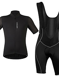 cheap -WOSAWE Men's Short Sleeve Cycling Jersey with Bib Shorts White Black Solid Color Bike Clothing Suit Breathable Moisture Wicking Reflective Strips Sports Elastane Solid Color Mountain Bike MTB Road