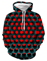 cheap -Men's Plus Size Hoodie Geometric Color Block 3D Hooded Basic Casual / Daily Hoodies Sweatshirts  Red