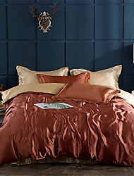 cheap -Duvet Cover Sets Solid Colored / Luxury Polyster Yarn Dyed 4 PieceBedding Sets