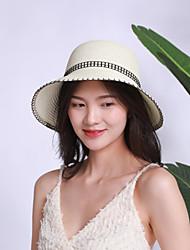 Недорогие -Жен. Активный Классический Симпатичные Стиль Соломенная шляпа Солома,Однотонный Весна Лето Бежевый Серый Хаки
