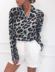 cheap -Women's Daily Wear Street Street chic Cotton Blouse - Leopard Black & White / Black & Gray, Patchwork Shirt Collar Light Brown