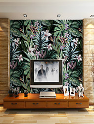 cheap -Black background Leaves  Flowers Suitable for TV Background Wall Wallpaper Murals Living Room Cafe Restaurant Bedroom Office XXXL(448*280cm)