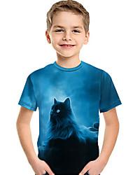 cheap -Kids Toddler Boys' Active Basic Cat Print 3D Animal Print Short Sleeve Tee Blue