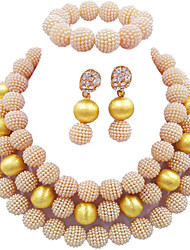 cheap -Women's Drop Earrings Necklace Bracelet Layered Seed Pearls Ball Fashion Elegant Africa Pearl Earrings Jewelry Pink / Turquoise / Hot Pink For Wedding Party Gift Daily Festival 1 set