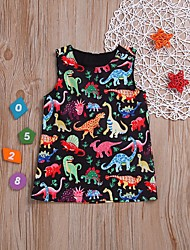 cheap -Baby Girls' Basic Dinosaur Print Sleeveless Dress Black / Toddler
