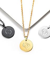 Недорогие -Жен. Ожерелья с подвесками Цепочка Ожерелье с шармом Монета Рыбы Gemini Простой модный Мода Позолота 18К Титановая сталь Золотой Черный Серебряный 55 cm Ожерелье Бижутерия 1шт Назначение