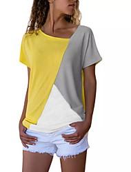 cheap -Women's Plus Size T-shirt - Color Block V Neck Black