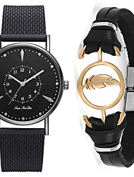 cheap -Men's Steel Band Watches Quartz Gift Set Stainless Steel Black / Silver / Rose Gold No Chronograph Cute New Design Analog Casual New Arrival - Silver Rose Gold Black / Rose Gold One Year Battery Life