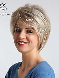 cheap -Synthetic Wig kinky Straight Natural Straight Bob Asymmetrical Side Part Wig Blonde Ombre Short Medium Blonde Synthetic Hair 10 inch Women's Fashionable Design Synthetic Natural Hairline Blonde Ombre