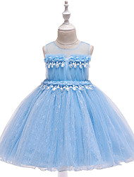 cheap -Ball Gown / Princess Maxi Flower Girl Dress - Tulle / Poly&Cotton Blend Sleeveless Jewel Neck with Appliques / Bow(s) / Lace / Formal Evening