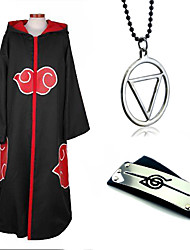 cheap -Inspired by Naruto Akatsuki Anime Cosplay Costumes Japanese Cosplay Suits / Cosplay Accessories Solid Colored Long Sleeve Necklace / Headband / Hoodie Cloak For Men's / Women's