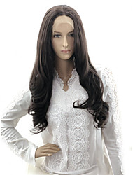 cheap -Wavy Body Wave Asymmetrical Lace Front Wig Medium Length Natural Black Synthetic Hair 20 inch Women's Ribbon Party Synthetic Black