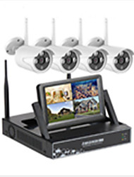 cheap -4Ch 720p 7lcd screen monitor wireless nvr kit system wifi ip kit security system