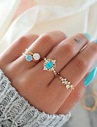 cheap -Women's Nail Finger Ring Ring Set Midi Ring Opal 4pcs Gold Alloy Round Sweet Fashion Colorful Party Gift Jewelry Fancy Flower Candy Cool Lovely