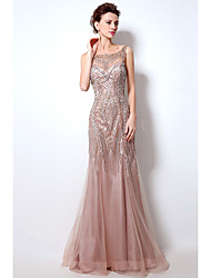cheap -Mermaid / Trumpet Boat Neck Court Train Tulle Sparkle & Shine / Beautiful Back Formal Evening Dress with Beading / Sequin / Crystals 2020