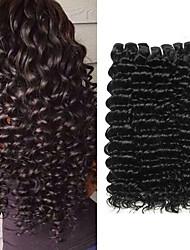 cheap -3 Bundles Brazilian Hair Deep Wave Remy Human Hair Natural Color Hair Weaves / Hair Bulk Human Hair Extensions 8-28 inch Natural Color Human Hair Weaves Soft Hot Sale Cool Human Hair Extensions