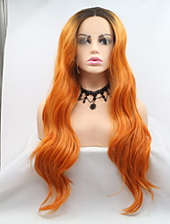 cheap -Synthetic Lace Front Wig Curly Matte Layered Haircut Lace Front Wig Blonde Medium Length Long Orange Kanekalon 18 20 22 24 26 inch Women's Fashionable Design Women Hot Sale Blonde Sylvia