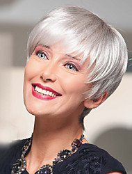 cheap -Human Hair Blend Wig Short Straight Natural Straight Layered Haircut Silver Best Quality New Comfortable Capless Women's All Sliver White / African American Wig