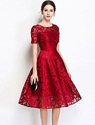 cheap -Women's Sophisticated A Line Dress - Solid Colored Cut Out Embroidered Blue Black Wine XXXL XXXXL XXXXXL