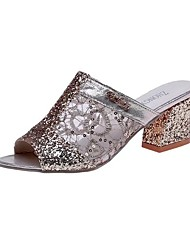 cheap -Women's Sandals Glitter Crystal Sequined Jeweled Spring & Summer Chunky Heel Peep Toe Minimalism Daily PU Gold / Silver