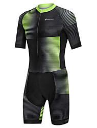 cheap -Nuckily Men's Short Sleeve Triathlon Tri Suit Black / Green Gradient Bike Windproof Breathable Quick Dry Sports Spandex Gradient Mountain Bike MTB Road Bike Cycling Clothing Apparel / Micro-elastic