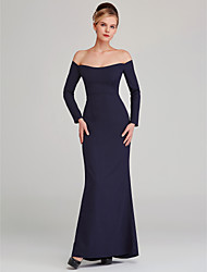 cheap -Sheath / Column Off Shoulder Floor Length Stretch Satin Elegant Formal Evening Dress with Pattern / Print 2020
