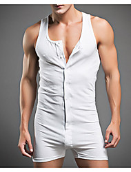 cheap -Men's EU / US Size White Dark Gray Slim Romper Onesie, Solid Colored M L XL