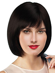 cheap -Human Hair Wig Short kinky Straight Natural Straight Bob Pixie Cut Black Fashionable Design Adjustable Easy to Carry Capless Women's All Medium Auburn Natural Black 8 inch / Natural Hairline